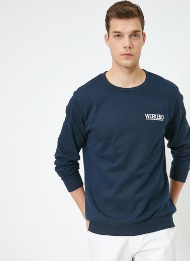 Koton Yazılı Baskılı Sweatshirt Lacivert